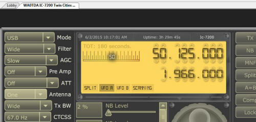 IC-7200 controlled via Remotehams.com and tuned to 50.125