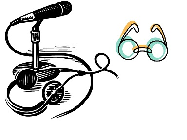 Microphone, headphones, and eyeglasses